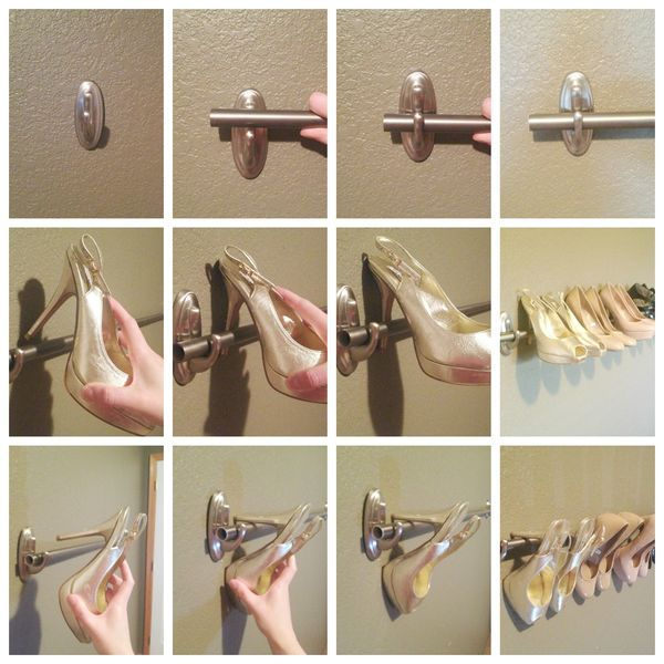 Shoes rack to organize your high heels using a curtain rod and Command™ Large Decorative Hooks. Create one row, or several rows depending on how many pairs of heels you have. It's a great use of wall space and eliminates taking up floor space in a bedroom or closet.
