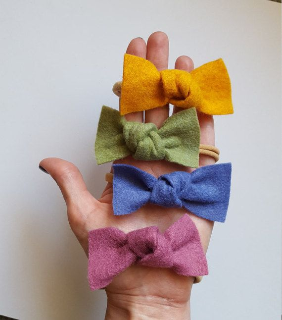 Single knot wool felt bow by AliceandJosie on Etsy