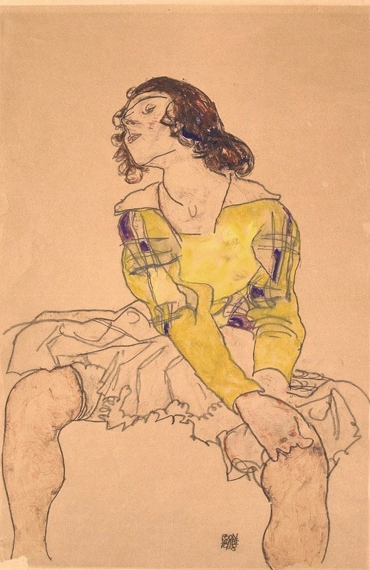 Woman with Yellow Blouse - Egon Schiele