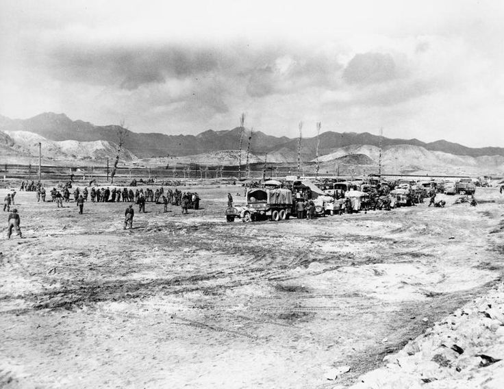 THE KOREAN WAR 1950 - 1953,Canadian troops, vehicles, and equipment in the bivouac area of Princess Patricia's Canadian Light Infantry, with the British 27th Brigade, near the front lines in Korea.