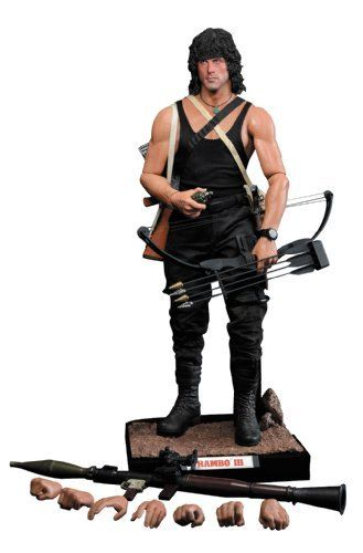 Enterbay Rambo III: John Rambo HD Masterpiece Action Figure by Enterbay. $344.00. Authentic likeness head sculpture of Stallone as Rambo. 1:4 scale museum-quality figure. Recreates Sylvester Stallone's memorable action hero in vivid detail. Imported from Hong Kong. HD-5 ABS and PVC action body. From the Manufacturer                Imported from Hong Kong. Another classic cinematic icon is about to be reborn. Rambo III, the third film in the Rambo series, takes Sylve...