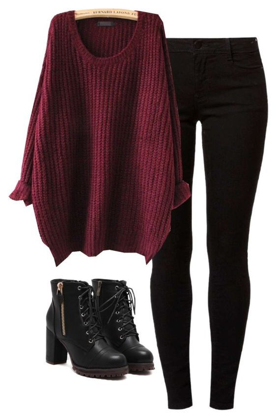#fall #outfits / Oversized Knit + Black