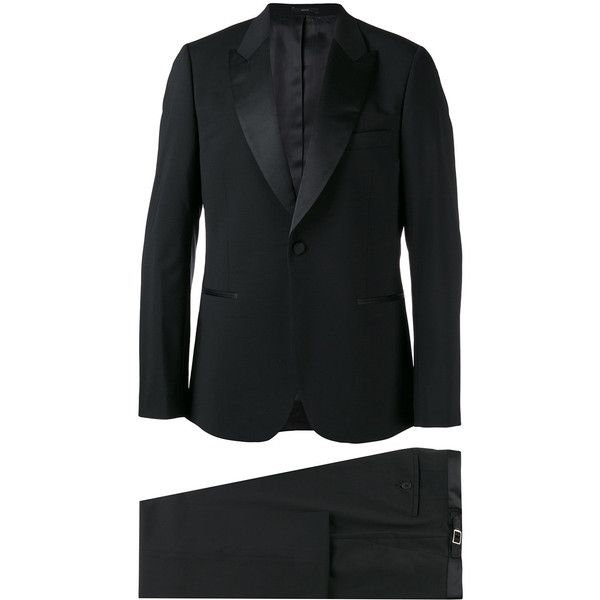 Paul Smith Satin-trimmed Suit ($1,611) ❤ liked on Polyvore featuring men's fashion, men's clothing, men's suits and paul smith mens suits