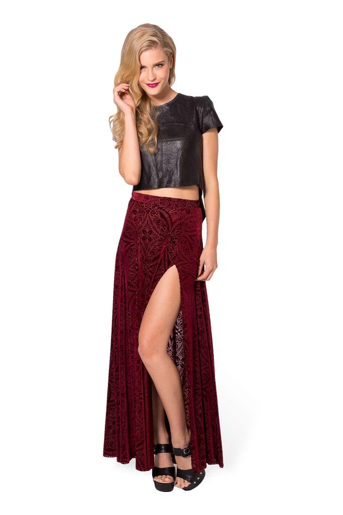 Burned Velvet Wine Split Skirt by Black Milk Clothing $99AUD