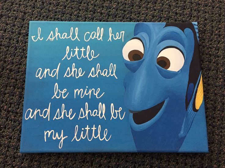 Dory finding nemo I shall call her little painted canvas, sorority big little reveal gift
