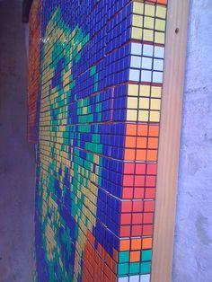Clint Eastwood portrait using Rubik's Cubes.