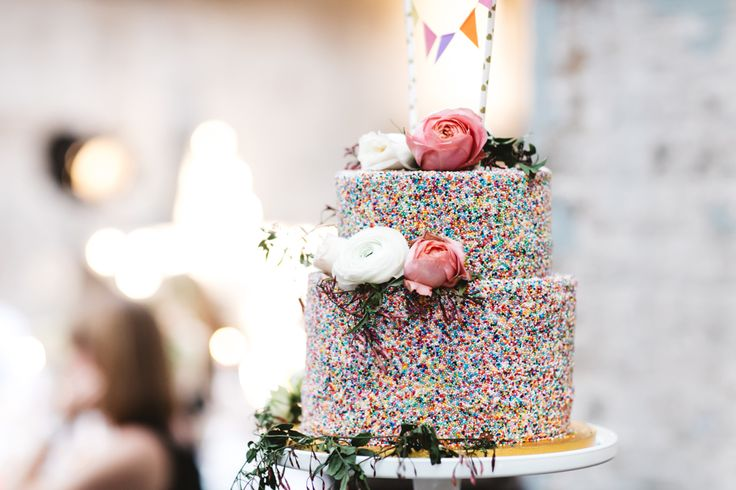 Confetti Wedding Cake With Hundreds & Thousands - Delphine Manivet Wedding Dress Intimate London Wedding MC Motors With Bridesmaids In Needle & Thread And Images From Wedding_M | Matt Porteous Photography