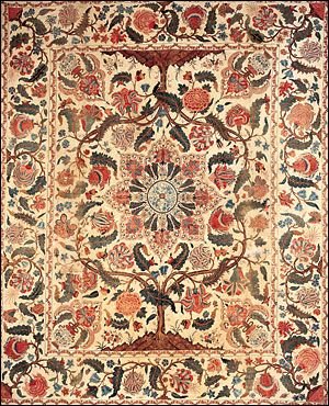Painted-And-Dyed Cotton Palampore, ndian (Coromandel Coast) for the British or   or American Market,  early 18th century