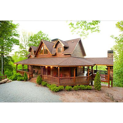 I love this wrap around deck lake life my dream for Cabin wrap around porch