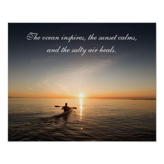Ocean Sunset Kayak Canoe Inspirational Quote Poste Poster ...