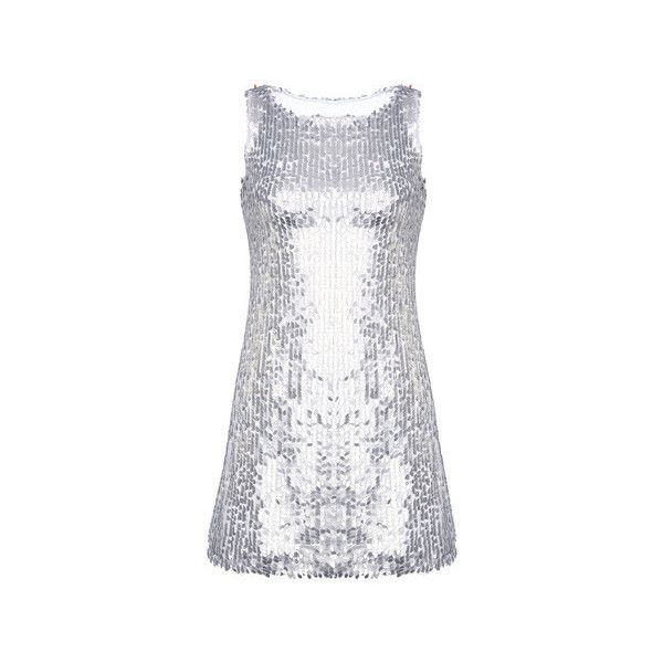 Silver Sequin Sleeveless Party Mini Dress ($36) ❤ liked on Polyvore featuring dresses, silver, short dresses, silver mini dress, short sleeveless dress, holiday party dresses and going out dresses