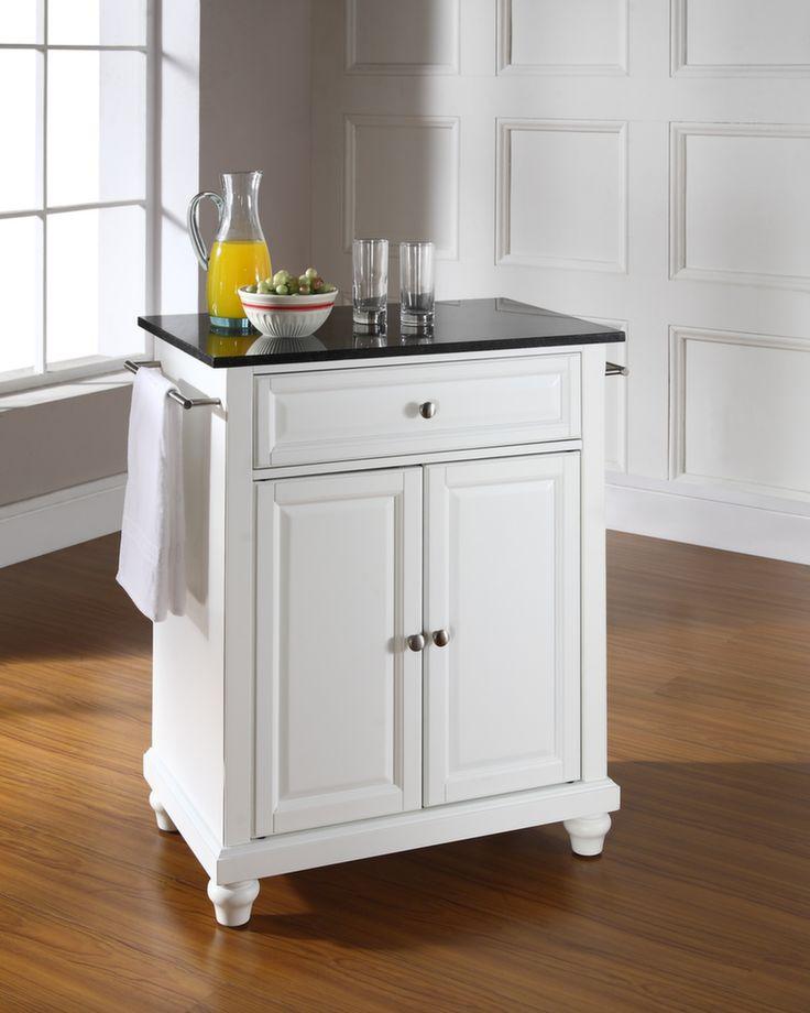 Cambridge Solid Black Granite Top Portable Kitchen Island In White Finish Kitchen Carts And Islands