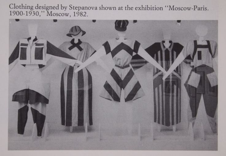 """Varvara Stepanova clothes designs from 1920's-30's.  In the early 1920s, Party-sanctioned magazines like Rabotnitsa (""""The Working Woman"""") and Krest'yanka (""""The Peasant Woman"""") Covers displayed women in plain work clothes, yet the magazines often contained advertisements for private companies selling stylish attire.] By 1927, however, the magazines' message was consistent: women should be judged on their capability for work, not their appearance."""