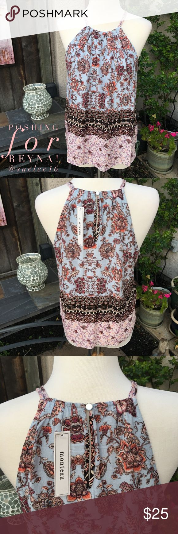🌸NEW for Reyna! 🌸 Sweet Boho Top for Spring NWT! I'm am so excited to be selling this SWEET boho top! I'm obsessed with these colors! Blue sky, blush pink, warm oranges, browns and black - all pulled together with a gorgeous floral/ border print reminiscent of a romantic English garden!🌷Single keyhole button closure on the back. 100% flowy, soft rayon; a matching blue front lining in 100% polyester.🌸 50% of this sale I will donate straight to Reyna Lucero Castellanos' Go Fund Me page…