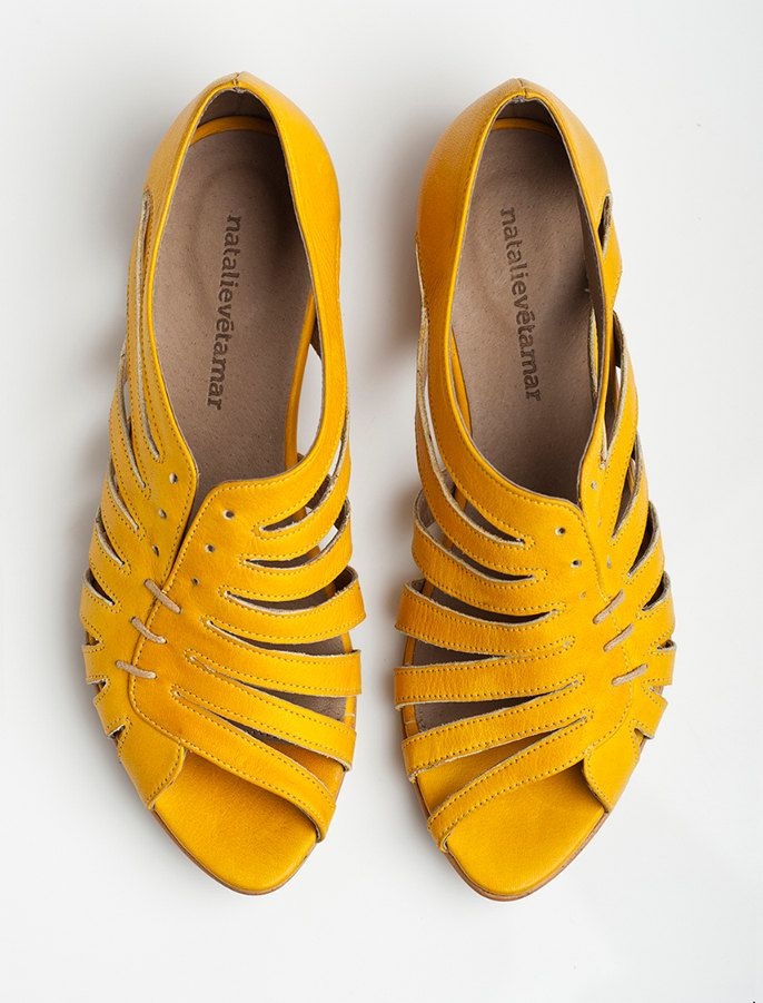 Gilly yellow flat sandals. $168.00, via Etsy.