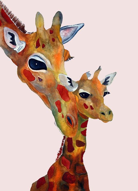 Bonding. Artwork for my son's room. Giraffes are his favorite animal.