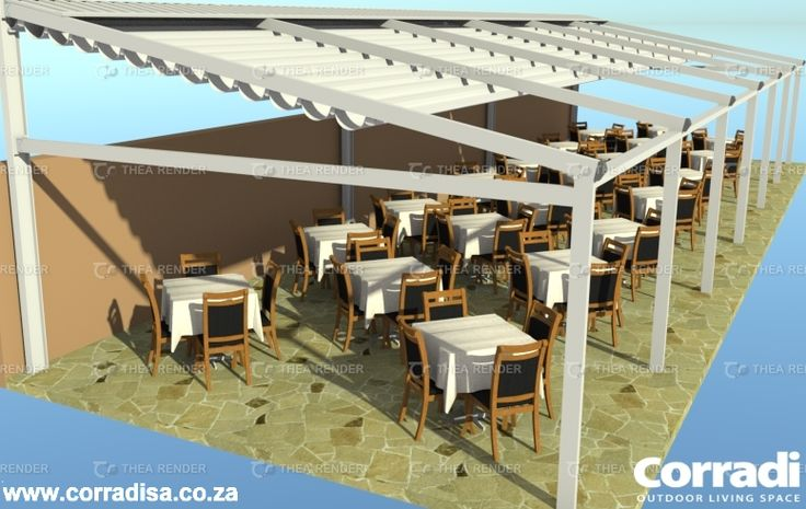 Outdoor structure for a restaurant in Tanzania. The Pergotenda Iridium (tilted roof) would usually be attached to a wall at the back, but in this instance the erection of a support frame consisting of I-beams was used to support the structure. Corradi has it's own alternative in the Radius support system which can be used as an alternative to the I-beam structure shown here, in order to make a lean-to structure self supporting and freestanding.