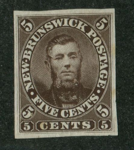 New-Brunswick-5P-5c-Brown-Charles-Connell-Specimen-Proof-No-Overprint-XF-91
