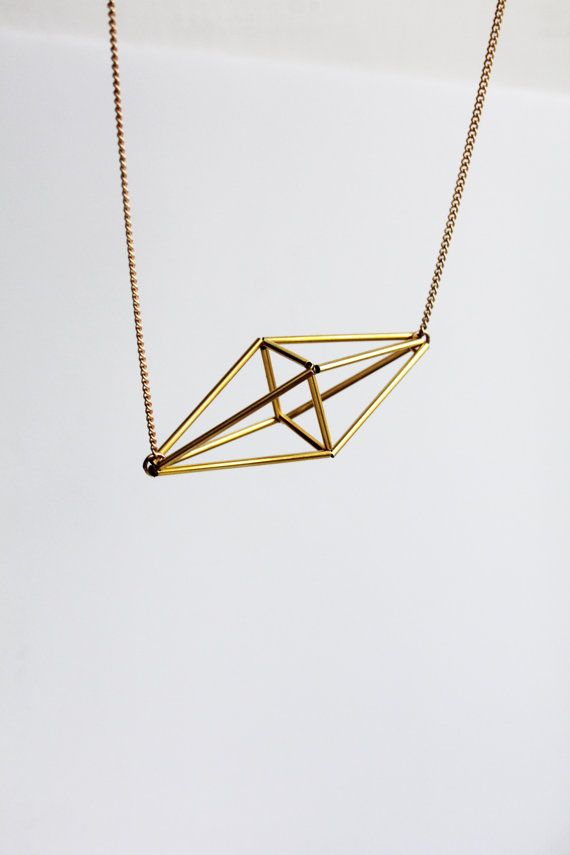 Himmeli inspired geometric pendant necklace, cage necklace in gold tone / geometric jewelry