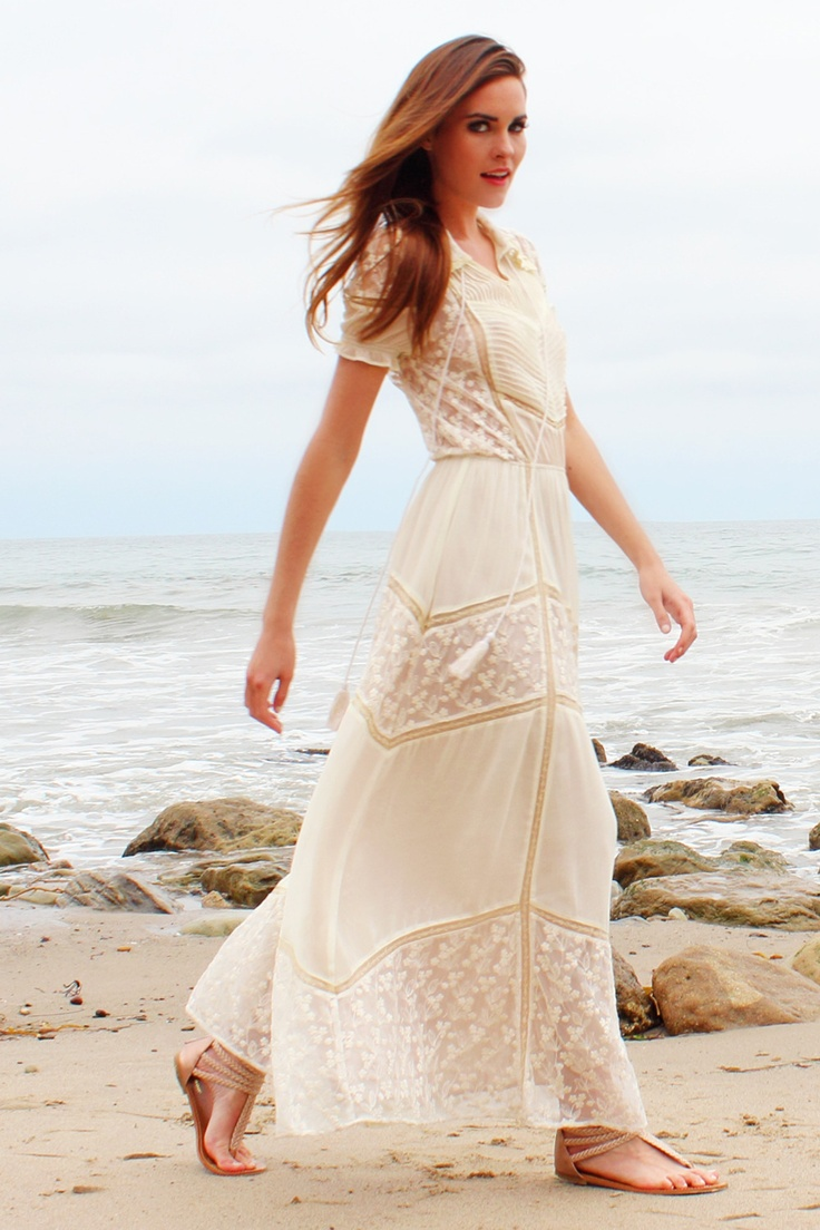 Lace maxi dress would make a cute casual bohemian wedding for Bohemian white wedding dress