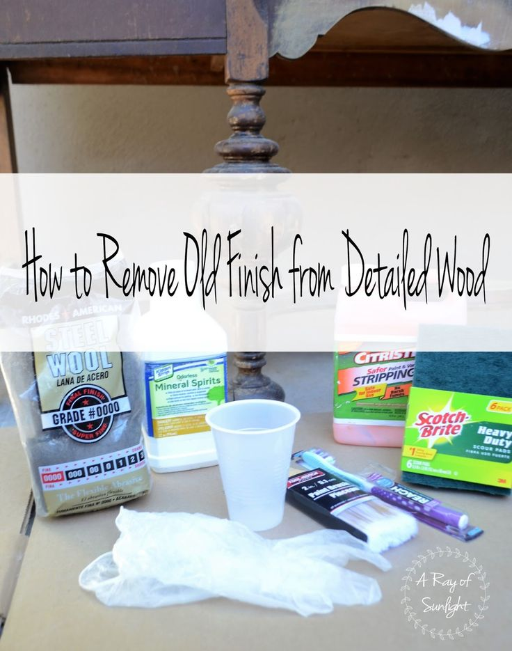 How to Remove Old Stain from Detailed Wood | A Ray of Sunlight Stripping wood with Citristrip, minera spirits, green scrub pad, steel wool and a toothbrush. Get into all the small details with this DIY method for antique or vintage furniture. Furniture refinishing made easy.