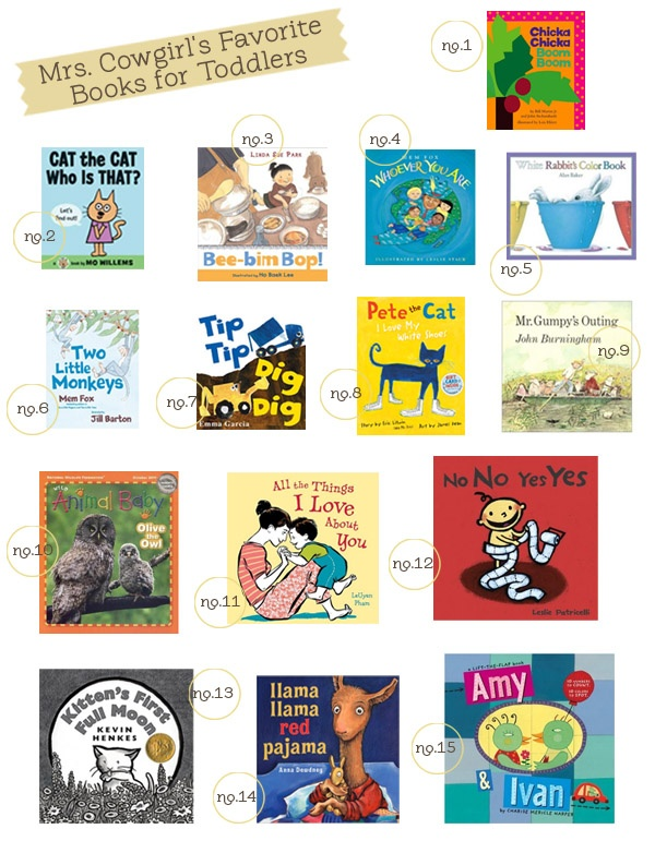 favorite books for toddlers from Mrs. Cowgirl -- a kindergarten language arts and first grade reading recovery teacher.