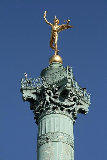 The Colonne de Juillet (July Column) in the Bastille, Paris, honours  victims of the 1830 July Revolution.