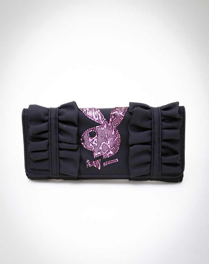 Playboy Bunny Head Ruffle Checkbook WalletPlayboy Bunnies, Bunnies Head, Head Ruffles, Checkbook Wallets, Hawt Hands, Black Ruffles, Purses Handbags, Playboy Lovers, Hands Bags
