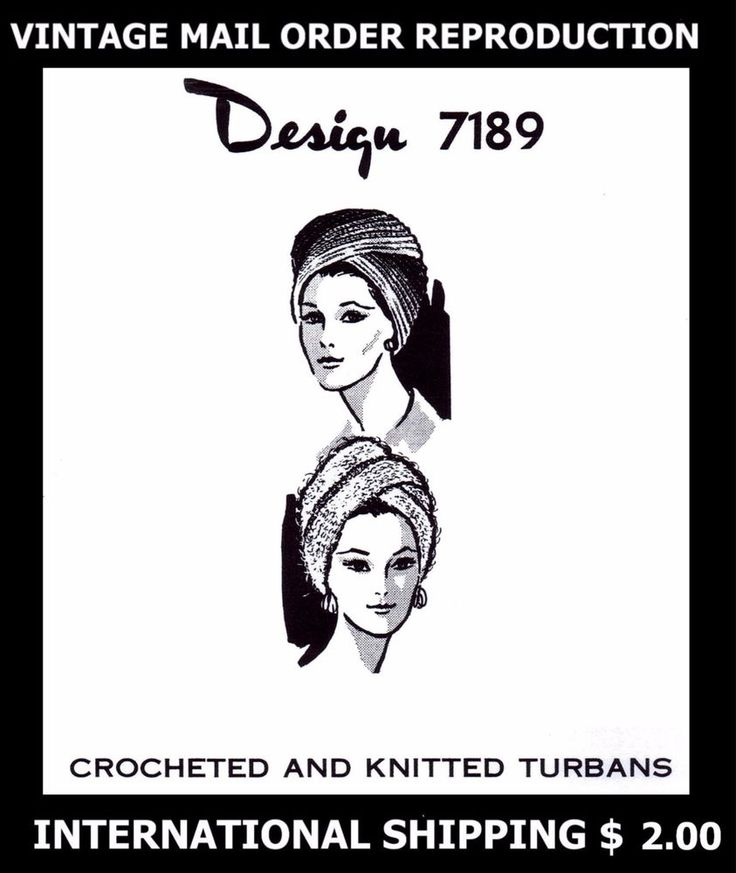Pattern TURBAN Hat CROCHETED & KNITTED 7189 CHEMO CANCER Alopecia Hijab Turbante #DESIGNMAILORDER7189