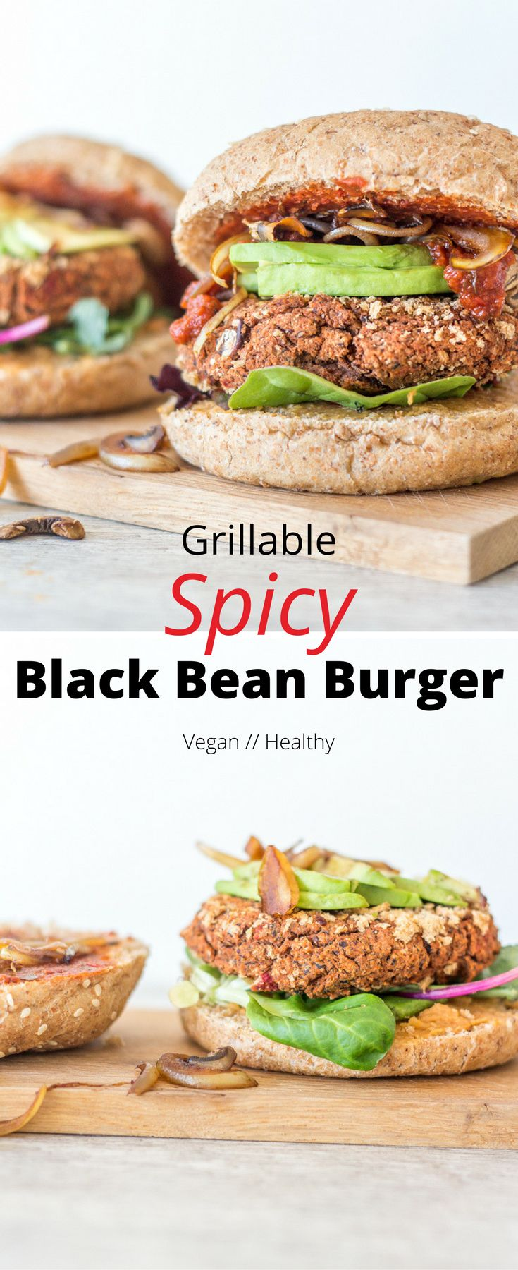 Easy Grillable Spicy Black Bean Burgers loaded with flavour and goodness. These burgers hold up really well, making them perfect for the grill.  Healthy vegan burger | vegan burger patties | vegan burger recipes | grillable vegan burger | vegan dinner recipes | vegan BBQ | healthy dinner | healthy burger
