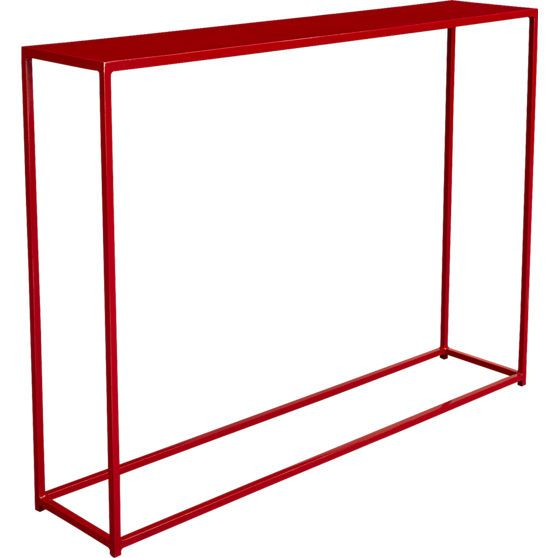 mini red console table in accent tables | CB2.  38x8x28 high.  $200.  Comes white too.