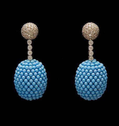 A. E. Köchert Diamond and Beaded Turquiose Earrings