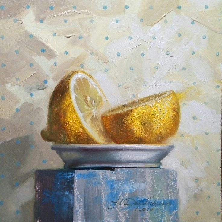 Lemon in the plate. Oil painting of fruit.