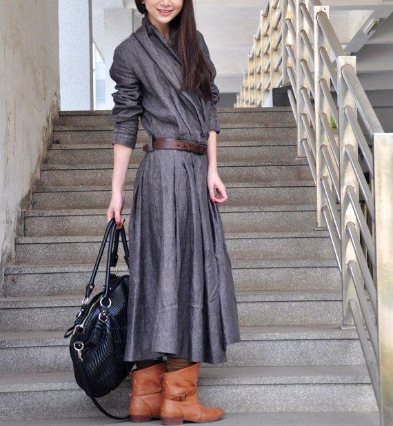 Lino Dress - Lino lungo abito trench in vestito grigio Cappotto Maxi Dress Ruffle Cappotto Donna - Custom Made