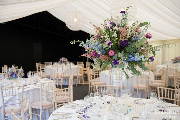 Stunning floral centrepiece by Wild Poppies | Chippenham Park | Wedding flowers