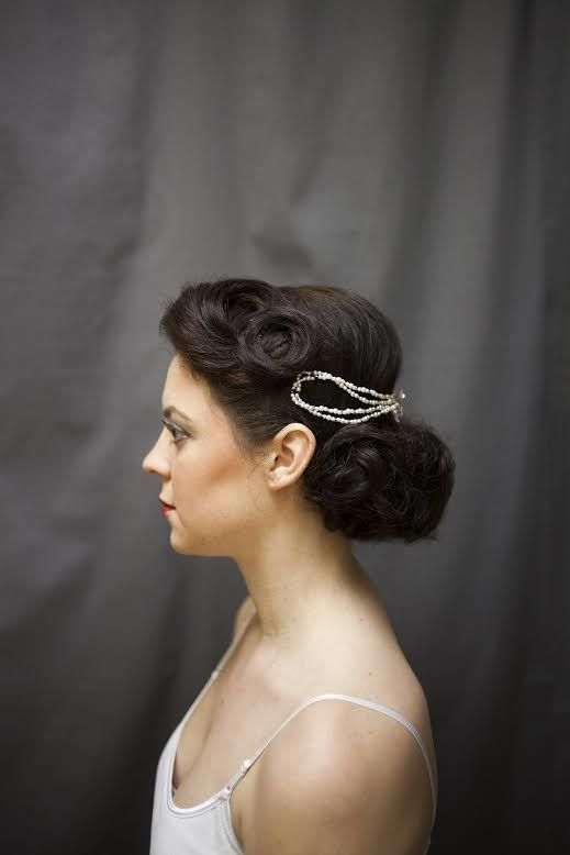 Get The Perfect Movie Star Glam Vintage Hair With An Elegant Twist Of Pearls And Low Chignon By Talus Salon York Pa Hairpiece At Posh Bridal