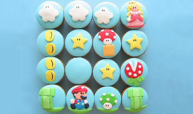 Fondant Decorated Super Mario Cupcakes.