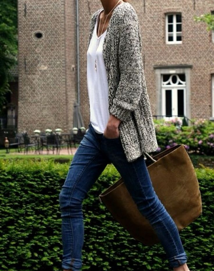 Style Inspiration: Extra Length......blue jeans, white tee top with longer length fleck cardi.