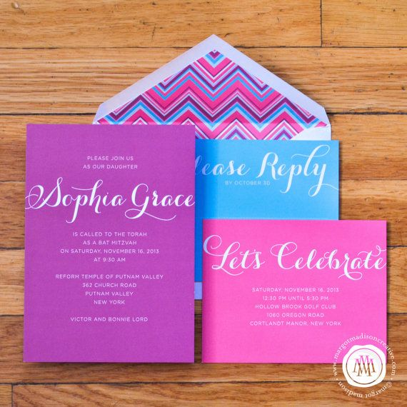 Pink, Turquoise and Purple Bat Mitzvah Invitation Suite