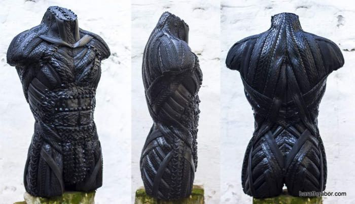 Sculptures made from recycled old tires Barath Gabor's Recycled Tire Art Man Torzo Sculptures. MUSCULATURE, POWER, DINAMICS