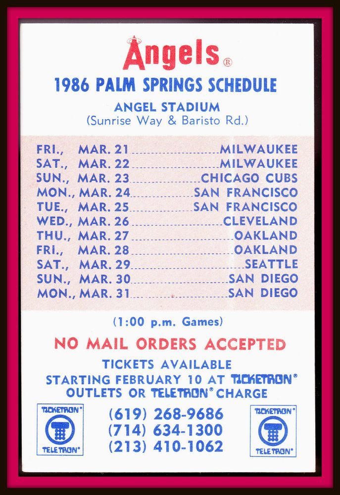 1986 CALIFORNIA ANGELS TICKETRON SPRING BASEBALL POCKET SCHEDULE PALM SPRINGS #Pocket #Schedule