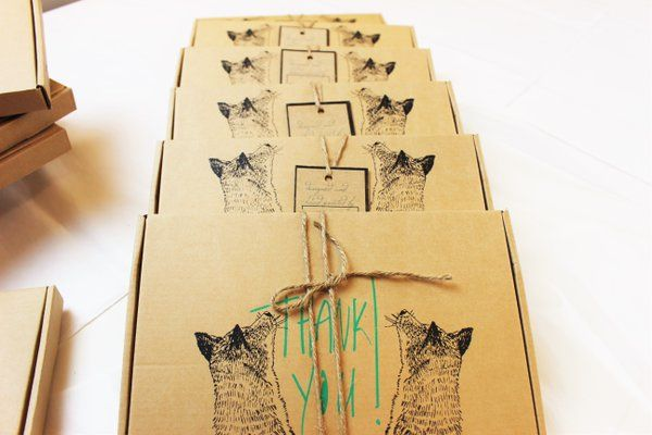 Hand printed foxy packaging