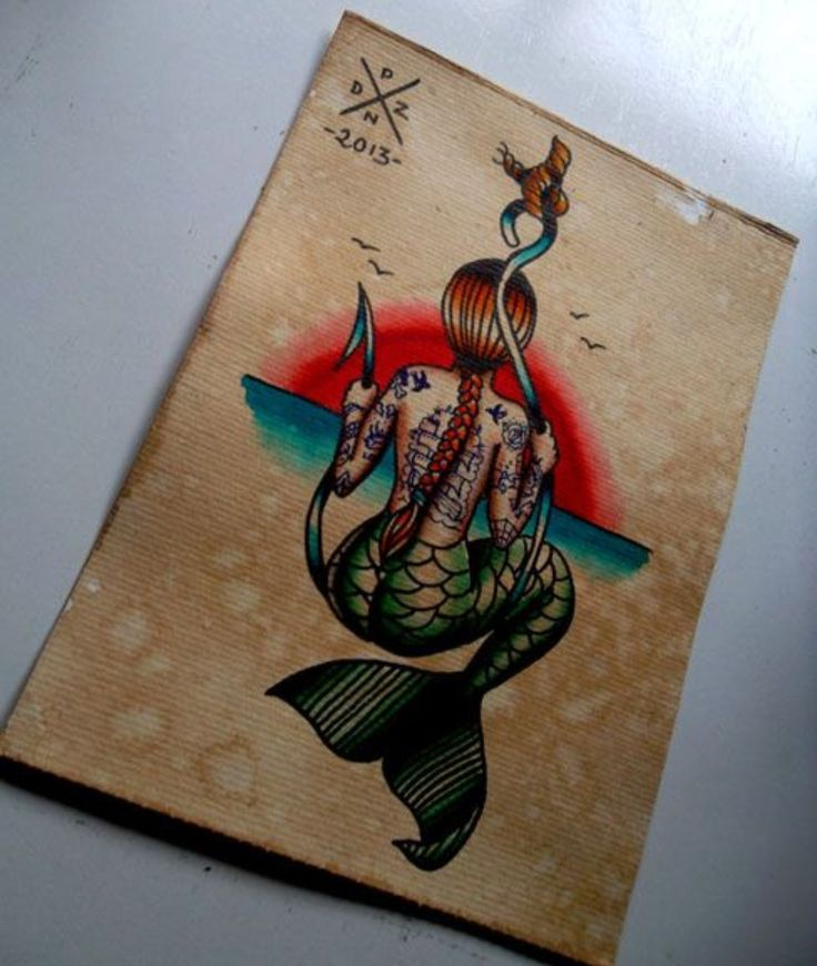 Mermaid tattoos always pique my interest. I love that she has tattoos herself & the traditional style.