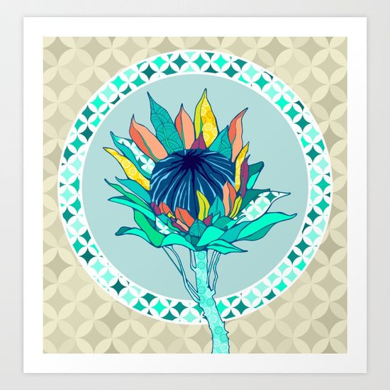 Bohemian Banksia Giclée art print by Kerise Delcoure. This floral illustration depicts an Australian Banksia flower. The artwork for this design was hand drawn with pen and ink and digitally painted to include a range of cheerful colours and patterns. Available at https://society6.com/kerisedelcoure and https://www.redbubble.com/people/kerisedelcoure.