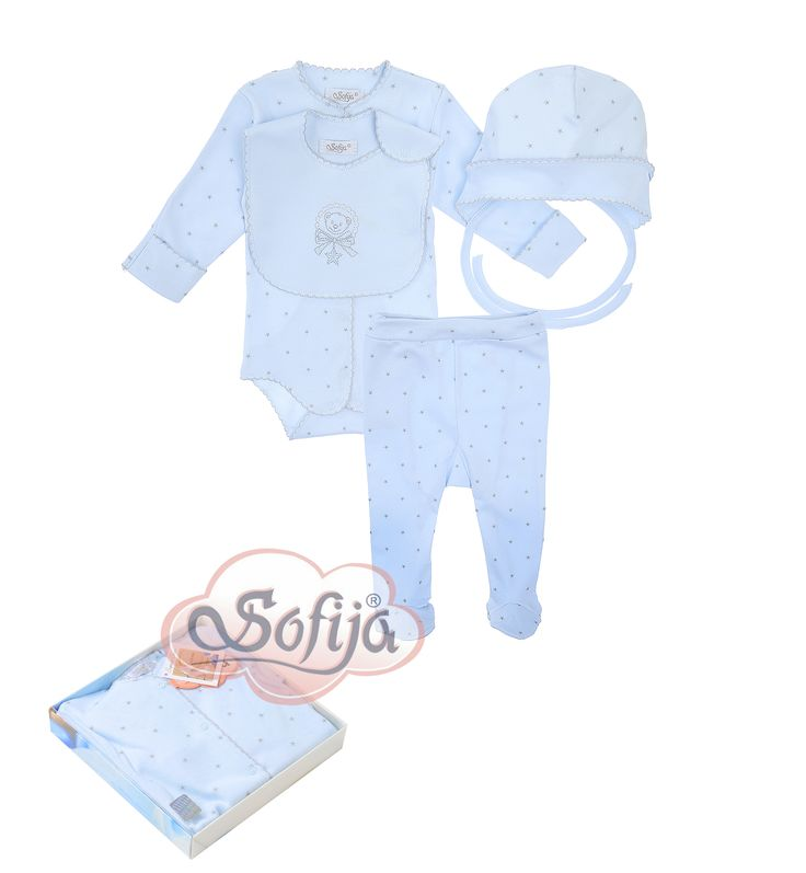 4-częściowy komplet dla dziecka Gwiazdeczka w eleganckim pudełku www.sofija.com.pl  #babyshower #babygift #kinder #babygeschenk #kids #baby #dziecko #prezent #niemowlak #wyprawka #sofija #ubranka #подарокребенку #ребенок
