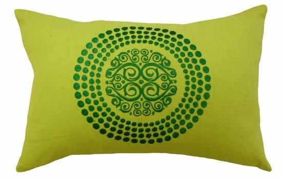 Mulberi Verdant Embroidered Jewels Cushion - Lime/Emerald