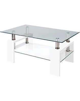 Beautifully Designed Modern Glass White #CoffeeTable With #Shelf  Contemporary #LivingRoom Is Available For