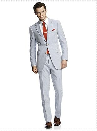 The Dessy seersucker suit is the ultimate summer suit, close fitting without being restrictive. Seersucker is a breathable fabric and it also doesn't need to be pressed. It's a classic, so part of a man's wardrobe for years to come.