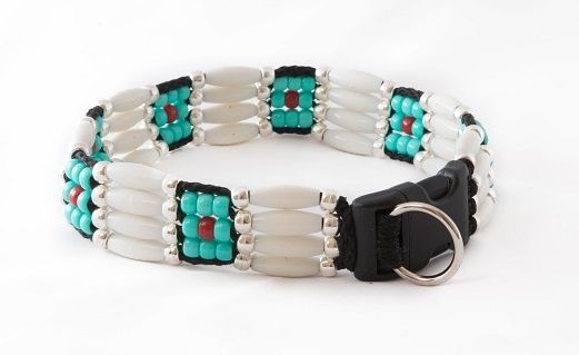 DESCRIPTION REVIEWS          The Comanche is one of our signature beaded dog collars inspired from Native American art.  We use durable products that create a unique look for your four-legged best friend.  All of our beaded dog collars can withstand 225 pounds of pulling tension, making them durable as well as beautiful.