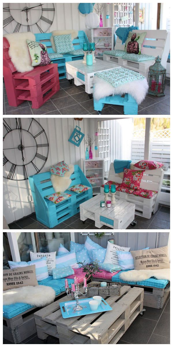 See it in my Website. Pallet lounge and garden benches are all made of pallets. More information at Daisys home website ! Idea sent by SISSEL SAUR RØED !…